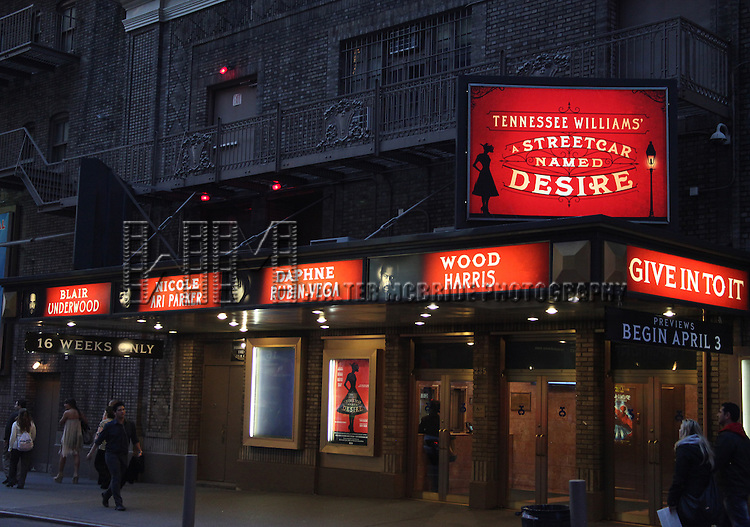 """Theatre Marquee- Tennessee Williams's Pulitzer Prize-winning masterpiece, A Streetcar Named Desire. Starring Blair Underwood, in his Broadway debut as Stanley Kowalski, Nicole Ari Parker (""""Soul Food"""") as Blanche DuBois, Daphne Rubin-Vega (Rent) as Stella Kowalski and Wood Harris (""""The Wire"""") as Mitch. Directed by Emily Mann at the Broadhurst Theatre, New York City. 3/17/2012."""