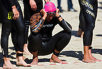 19 SEP 2010 - LA BAULE, FRA - A competitor prepares himself for the start of the Triathlon Courte Distance during the 23rd Triathlon Audencia-La Baule (PHOTO (C) NIGEL FARROW)