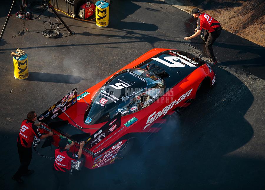 Jun 16, 2018; Bristol, TN, USA; NHRA funny car driver Cruz Pedregon during qualifying for the Thunder Valley Nationals at Bristol Dragway. Mandatory Credit: Mark J. Rebilas-USA TODAY Sports