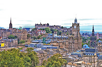 A view of the Edinburgh Castle and surrounding skyline from Calton Hill.
