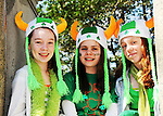 Young girls attending the annual St. Patrick's Day Parade show off thier Irish headbands in New York City on March 17, 2011.