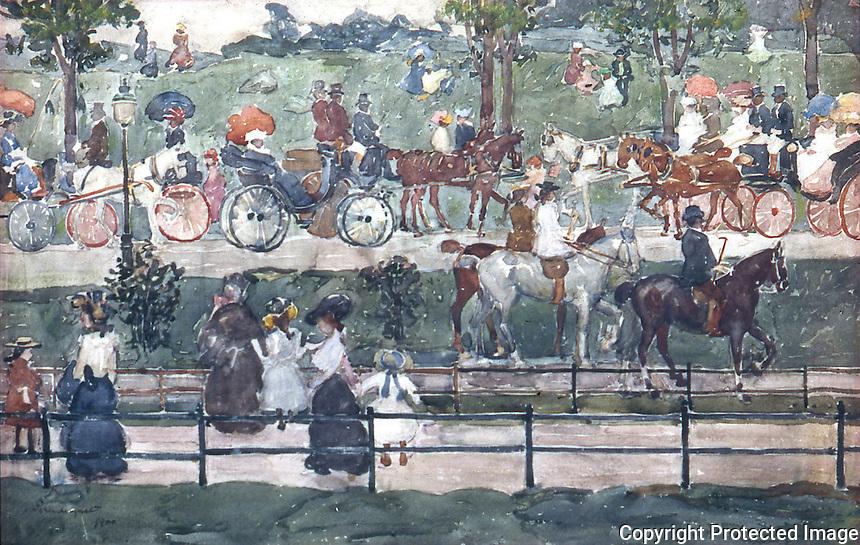 American Painters:  M. Prendergast--Central Park, 1900.  Watercolor.  Whitney Museum of American Art.