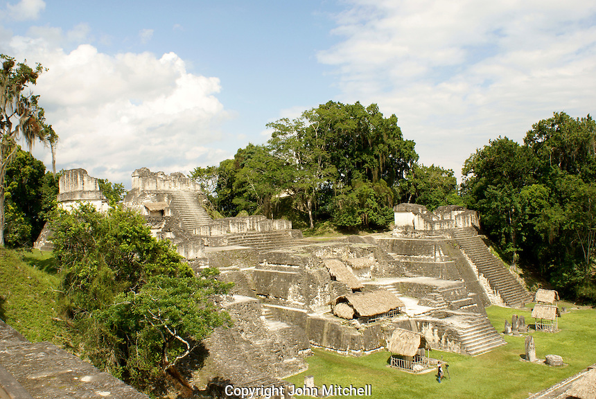 Central Acropolis at the Maya ruins of Tikal, El Peten, Guatemala. Tikal is a UNESCO World Heritage Site....