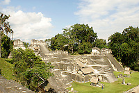 Central Acropolis at the Maya ruins of Tikal, El Peten, Guatemala. Tikal is a UNESCO World Heritage Site....