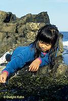 ON03-006z  Ocean - girl exploring tidepool on rocky beach - Acadia National Park, Maine