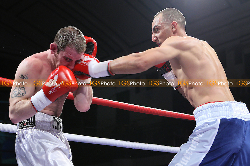 Bradley Skeete (blue/white shorts) defeats Johnny Greaves in a Welterweight boxing contest  at York Hall, Bethnal Green, London, promoted by Frank Warren - 19/02/11 - MANDATORY CREDIT: Gavin Ellis/TGSPHOTO - Self billing applies where appropriate - Tel: 0845 094 6026