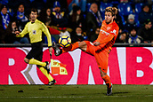 12th January 2018, Estadio Coliseum Alfonso Perez, Getafe, Spain; La Liga football, Getafe versus Malaga; Sergio Gontan, KEKO (Malaga CF) controls the high ball