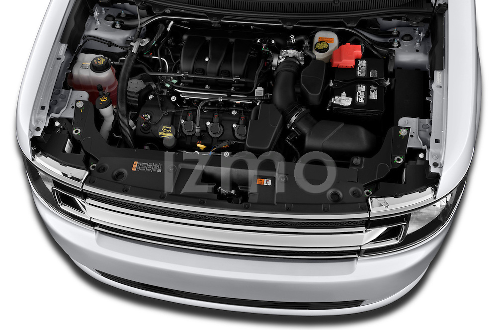 High angle engine detail of a  .2018 Ford Flex SEL