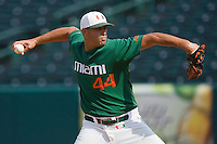 Relief pitcher E.J. Encinosa #44 of the Miami Hurricanes in action against the Boston College Eagles at the 2010 ACC Baseball Tournament at NewBridge Bank Park May 27, 2010, in Greensboro, North Carolina.  The Eagles defeated the Hurricanes 12-10 in 10 innings.  Photo by Brian Westerholt / Four Seam Images
