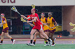 Los Angeles, CA 02/28/14 - Jamie Romano (Marist #13) in action during the Marist Red Foxes vs University of Southern California Trojans NCAA Women's lacrosse game at Loker Track Stadium on the USC Campus.  Marist defeated USC 12-10.