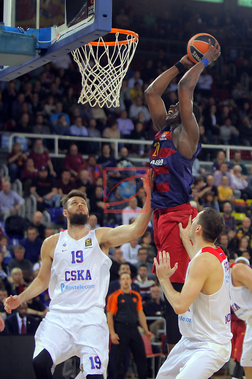 Turkish Airlines Euroleague 2016/2017.<br /> Regular Season - Round 24.<br /> FC Barcelona Lassa vs CSKA Moscow: 61-85.<br /> Joel Freeland, Moussa Diagne &amp; Vitaly Friddzon.