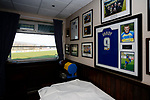 Team pictures and a Jamie Vardy shirt in the Directors Lounge at the Look Local Stadium. Stocksbridge Park Steels v Pickering Town, Evo-Stik East Division, 17th November 2018. Stocksbridge Park Steels were born from the works team of the local British Steel plant that dominates the town north of Sheffield.<br />