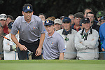 23rd September, 2006. .European Ryder Cup Team players Sergio Garcia and Luke Donald line up their putt on the 2nd green during the afternoon fourball session of the second day of the 2006 Ryder Cup at the K Club in Straffan, County Kildare in the Republic of Ireland..Photo: Eoin Clarke/ Newsfile.