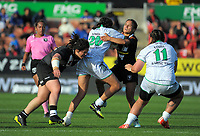 Chanel Huddleston is tackled during the Women's Rugby League World Cup warmup match between the Kiwi Ferns and Wahine Toa at the FMG Stadium in Hamilton, New Zealand on Saturday, 4 November 2017. Photo: Dave Lintott / lintottphoto.co.nz