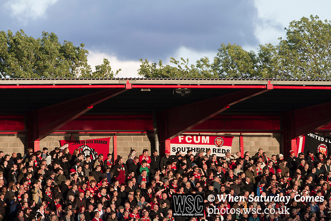 FC United of Manchester 0 Benfica 1, 29/05/2015. Broadhurst Park, Stadium Opening. Home fans at Broadhurst Park, Manchester, the new home of FC United of Manchester during the second-half of the club's match against Benfica, champions of Portugal, which marked the official opening of their new stadium. FC United Manchester were formed in 2005 by fans disillusioned by the takeover of Manchester United by the Glazer family from America. The club gained several promotions and played in National League North in the 2015-16 season, but lost this match 1-0. Photo by Colin McPherson.