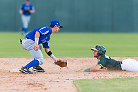 Team Italy second baseman Ricardo Paolini (1) waits to apply the tag on Nick Osborne (7) as he slides into second base during an exhibition game against the Oakland Athletics at Lew Wolff Training Complex on October 3, 2018 in Mesa, Arizona. (Zachary Lucy/Four Seam Images)