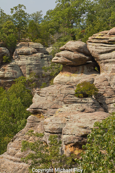 Monkey Face in rock formation, Garden of the Gods Shawnee National Forest, Illinois.