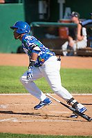Michael Medina (25) of the Ogden Raptors at bat against the Grand Junction Rockies in Pioneer League action at Lindquist Field on July 5, 2015 in Ogden, Utah.Ogden defeated Grand Junction 12-2.  (Stephen Smith/Four Seam Images)