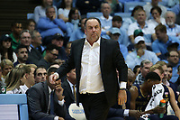 CHAPEL HILL, NC - NOVEMBER 06: Head coach Mike Brey of the University of Notre Dame during a game between Notre Dame and North Carolina at Dean E. Smith Center on November 06, 2019 in Chapel Hill, North Carolina.