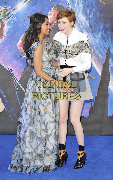 LONDON, ENGLAND - JULY 24: Zoe Saldana &amp; Karen Gillan attend the 'Guardians Of The Galaxy' UK film premiere, The Empire cinema, Leicester Square, on Thursday July 24, 2014 in London, England, UK. <br /> CAP/CAN<br /> &copy;Can Nguyen/Capital Pictures