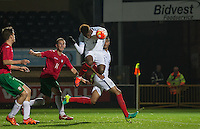 Dujon Sterling (Chelsea) of England U19 heads the winning goal in injury time to make it 2 1 during the International friendly match between England U19 and Bulgaria U19 at Adams Park, High Wycombe, England on 10 October 2016. Photo by Andy Rowland.