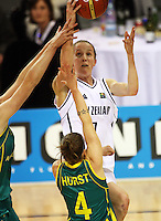 Tall Ferns' Antonia Edmondson lays a shot up during the International women's basketball match between NZ Tall Ferns and Australian Opals at Te Rauparaha Stadium, Porirua, Wellington, New Zealand on Monday 31 August 2009. Photo: Dave Lintott / lintottphoto.co.nz