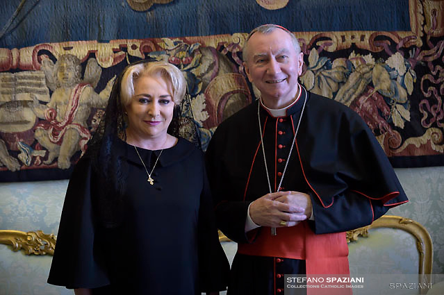 Cardinal Pietro Parolin.; , Romania's Prime Minister Viorica Dancila during a private audience, at the Vatican, Friday, May 11, 2018.