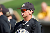 Charlie Morgan #26 of the Wake Forest Demon Deacons prior to the game against the Miami Hurricanes at Gene Hooks Field on March 19, 2011 in Winston-Salem, North Carolina.  Photo by Brian Westerholt / Four Seam Images