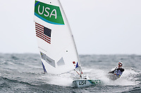 RIO DE JANEIRO, BRAZIL - AUGUST 10:  Paige Railey of the United States competes in the Women's Laser Radial class on Day 5 of the Rio 2016 Olympic Games at the Marina da Gloria on August 10, 2016 in Rio de Janeiro, Brazil.  (Photo by Clive Mason/Getty Images)