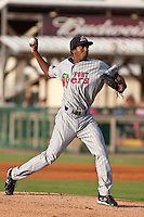 Santos Arias of the Ft. Myers Miracle during the game against the Daytona Cubs July 17 2010 at Jackie Robinson Ballpark in Daytona Beach, Florida. Photo By Scott Jontes/Four Seam Images