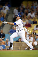 Adrian Gonzalez #23 of the Los Angeles Dodgers bats against the San Francisco Giants at Dodger Stadium on October 02, 2012 in Los Angeles, California. San Francisco defeated Los Angeles 4-3. (Larry Goren/Four Seam Images)