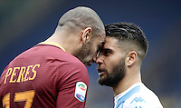 Roma&rsquo;s Bruno Peres, left, faces Napoli&rsquo;s Dries Mertens during the Italian Serie A football match between Roma and Napoli at Rome's Olympic stadium, 4 March 2017. <br /> UPDATE IMAGES PRESS/Isabella Bonotto