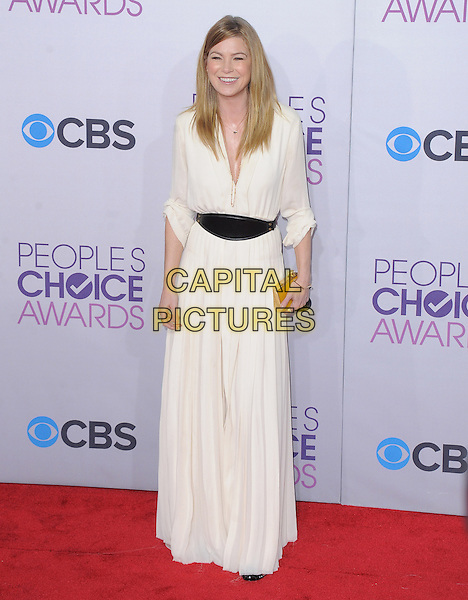 Ellen Pompeo.The 2013 People's Choice Awards held at Nokia Live in Los Angeles, California 9th January 2013                                                                   .full length black dress white belt gold clutch bag.CAP/DVS.©DVS/Capital Pictures.