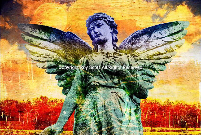 Colourful image of angel statue
