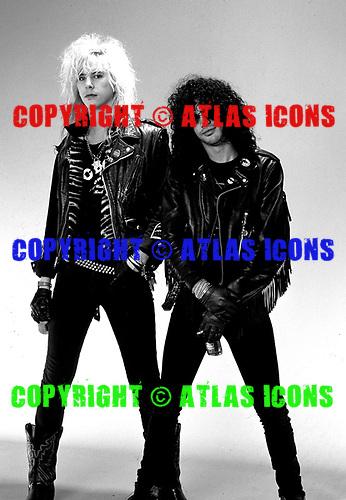 Guns n' Roses photosession - Duff Mckagan and Slash photographed at Techno Balcar Studio Los Angeles CA USA - Jan 27,1988. Photo credit: Eddie Malluk/AtlasIcons.com