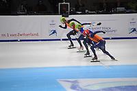 SHORTTRACK: DORDRECHT: Sportboulevard Dordrecht, 25-01-2015, ISU EK Shorttrack, 1000m Men Halve Finale, Daan BREEUWSMA (NED | #39), Freek VAN DER WART (NED | #52), Vladislav BYKANOV (ISR | #39), Sjinkie KNEGT (NED | #1), ©foto Martin de Jong