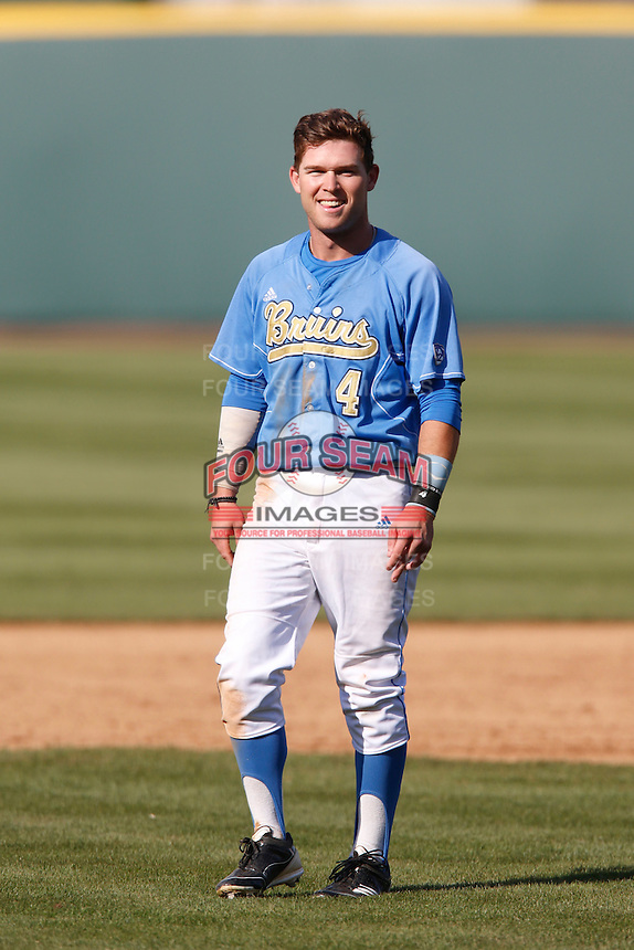 Eric Filia #4 of the UCLA Bruins during a game against the California Golden Bears at Jackie Robinson Stadium on March 23, 2013 in Los Angeles, California. (Larry Goren/Four Seam Images)