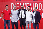 National soccer team of Spain new coach Luis Enrique Martinez (c) with his staff technical Robert Moreno, second coach (2l); Rafael Pol, physical trainer (2r); Jesus Casas, analyst and scout (l) and Joaquin Valdes, psychologist during their official presentation. July 19,2018. (ALTERPHOTOS/Acero)