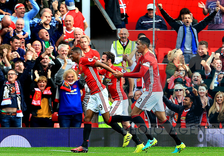 Marcus Rashford of Manchester United celebrates after scoring his sides third goal  during the Premier League match at Old Trafford Stadium, Manchester. Picture date: September 24th, 2016. Pic Sportimage