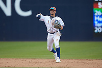 Durham Bulls shortstop Willy Adames (1) makes a throw to first base against the Buffalo Bison at Durham Bulls Athletic Park on April 25, 2018 in Allentown, Pennsylvania.  The Bison defeated the Bulls 5-2.  (Brian Westerholt/Four Seam Images)