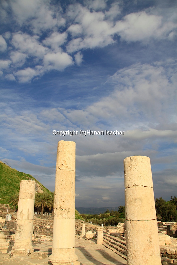 Ruins of the Roman-Byzantine city Scythopolis, marble columns at the colonnaded Palladius street