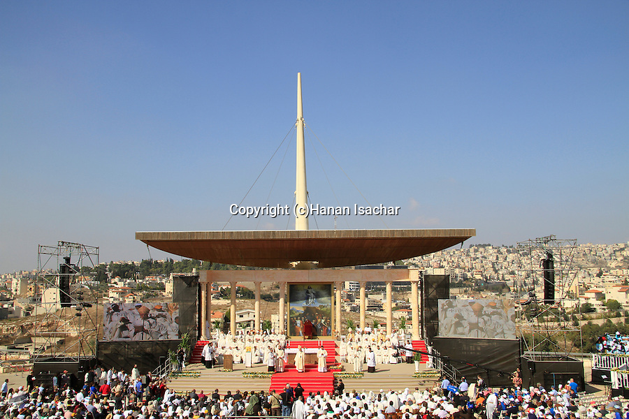 The Latin Patriarch of Jerusalem Fouad Twal presides over the mass at Mt. Precipice in Nazareth, on the International Day of Faith