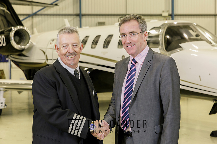 01/02/2016 Pula Aviation Ltd acquires 100% share capital of Bristol Flying Centre including its subsidiary, Centreline Air Charter. Martin Barnes (left), Chief Pilot and founder of BFC, shakes hands with Nick Brown, MD of Pula Aviation Ltd.