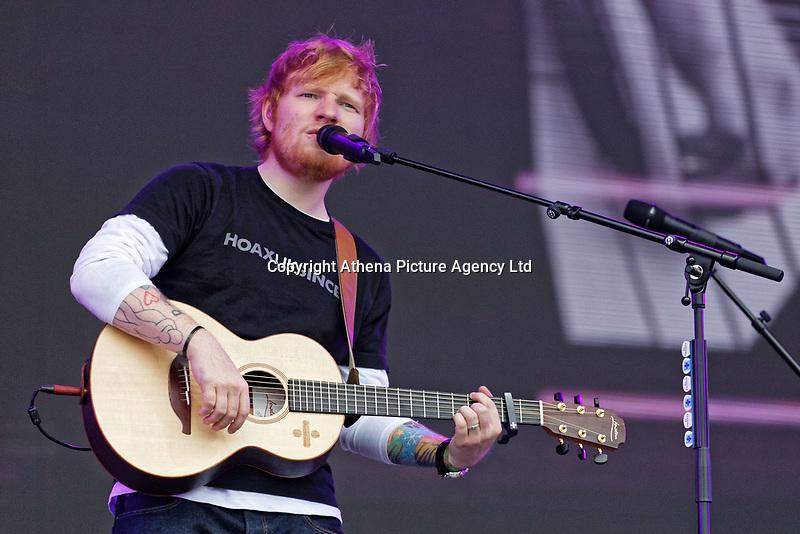 Pictured: Ed Sheeran performs on stage. Saturday 26 May 2018<br /> Re: BBC Radio 1 Biggest Weekend at Singleton Park in Swansea, Wales, UK.