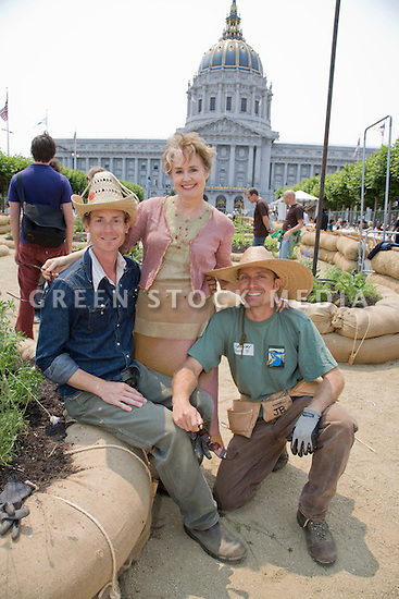 "John Bela (L), Victory Garden Manager, Alice Waters (M), chef and founder/co-owner of Chez Panisse, and Gregory Kelly (R) of Pollinator Partnership at Community Planting Day (July 12, 2008) of the Slow Food Nation Victory Garden at San Francisco's Civic Center. The garden project ""demonstrates the potential of a truly local agriculture practice that unites and promotes Bay Area urban gardening organizations, while producing high quality food for those in need.""* The garden is planted on the same site as the post-World War II garden sixty years ago. The food will be grown over a period of two months, harvested, and donated to people in need..*slowfoodnation.org"