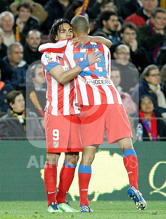 Atletico de Madrid's Radamel Falcao (l) and Joao Miranda during La Liga match.December 16,2012. (ALTERPHOTOS/Acero)
