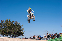 Rider jumping at Spanish Motocross Championship at Albaida circuit (Spain), 22-23 February 2014