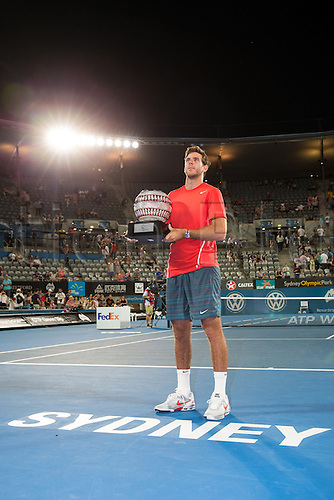 11.01.2014. Sydney Australia. Juan Martin Del Potro with his winners trophy at the Mens Final, Apia International, Sydney Olympic Park Tennis Centre, Sydney, Australia, Saturday, 11 Jan 2014.
