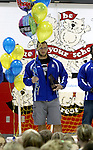 BROOKINGS, SD - SEPTEMBER 23:  South Dakota State University running back Zach Zenner receives his award to the 2014 Allstate AFCA Good Works Team Tuesday afternoon at Hillcrest Elementary School in Brookings. (Photo/Dave Eggen/Inertia)