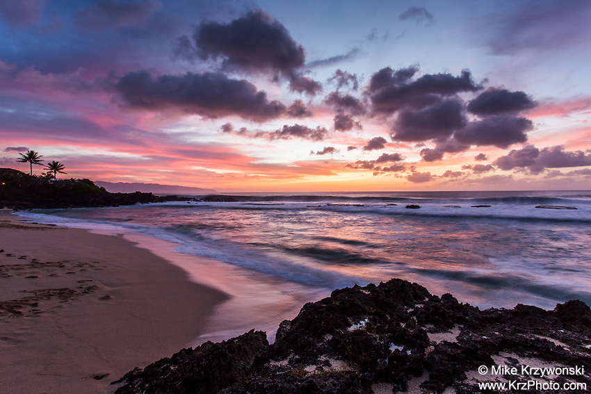 Colorful sunset at Three Tables Beach, North Shore, Oahu